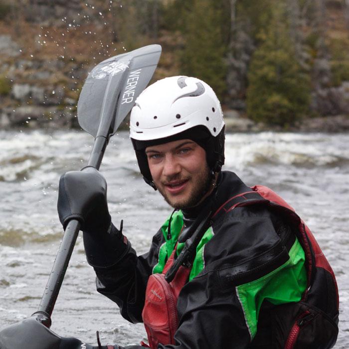 Easton in canoe